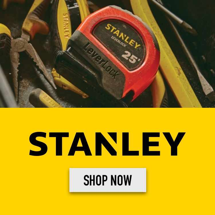 The Stanley logo on yellow with an image of a Stanley tape measure.
