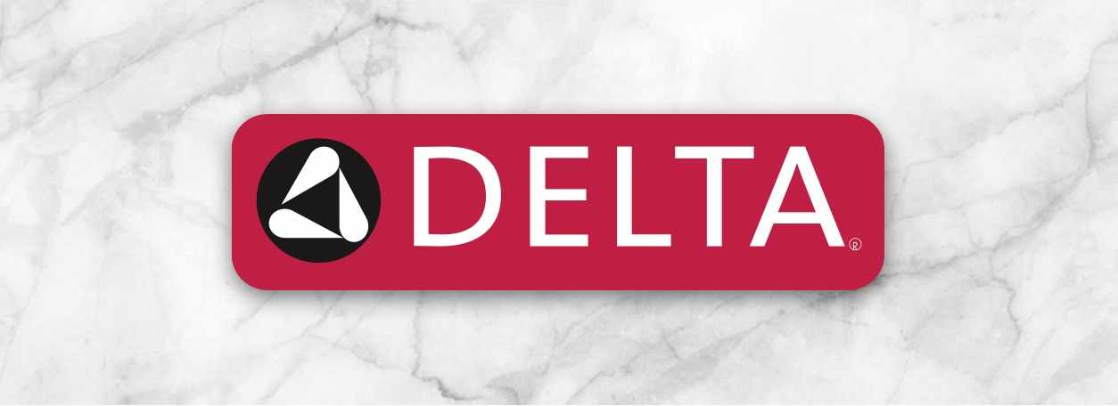 The Delta logo over a marble background.