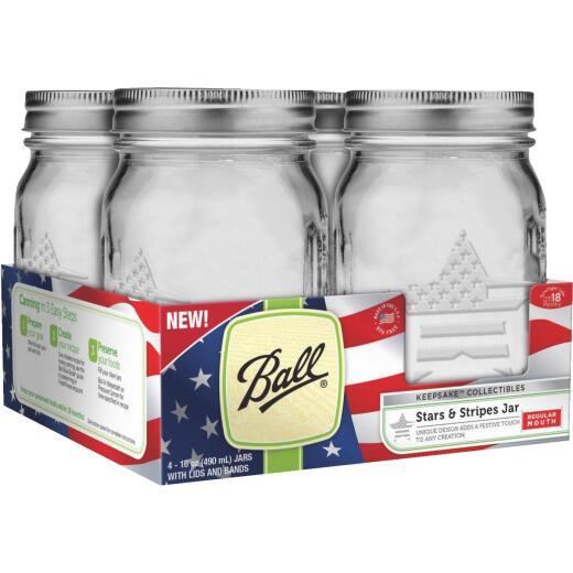 Ball Pint Regular Mouth Stars & Stripes Keepsake Canning Jar (4-Count)