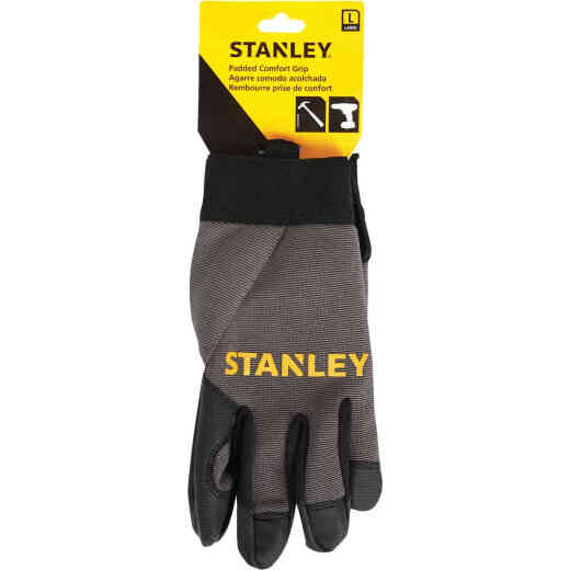 Stanley Men's Large Synthetic Fabric Padded Comfort Grip High Performance Glove