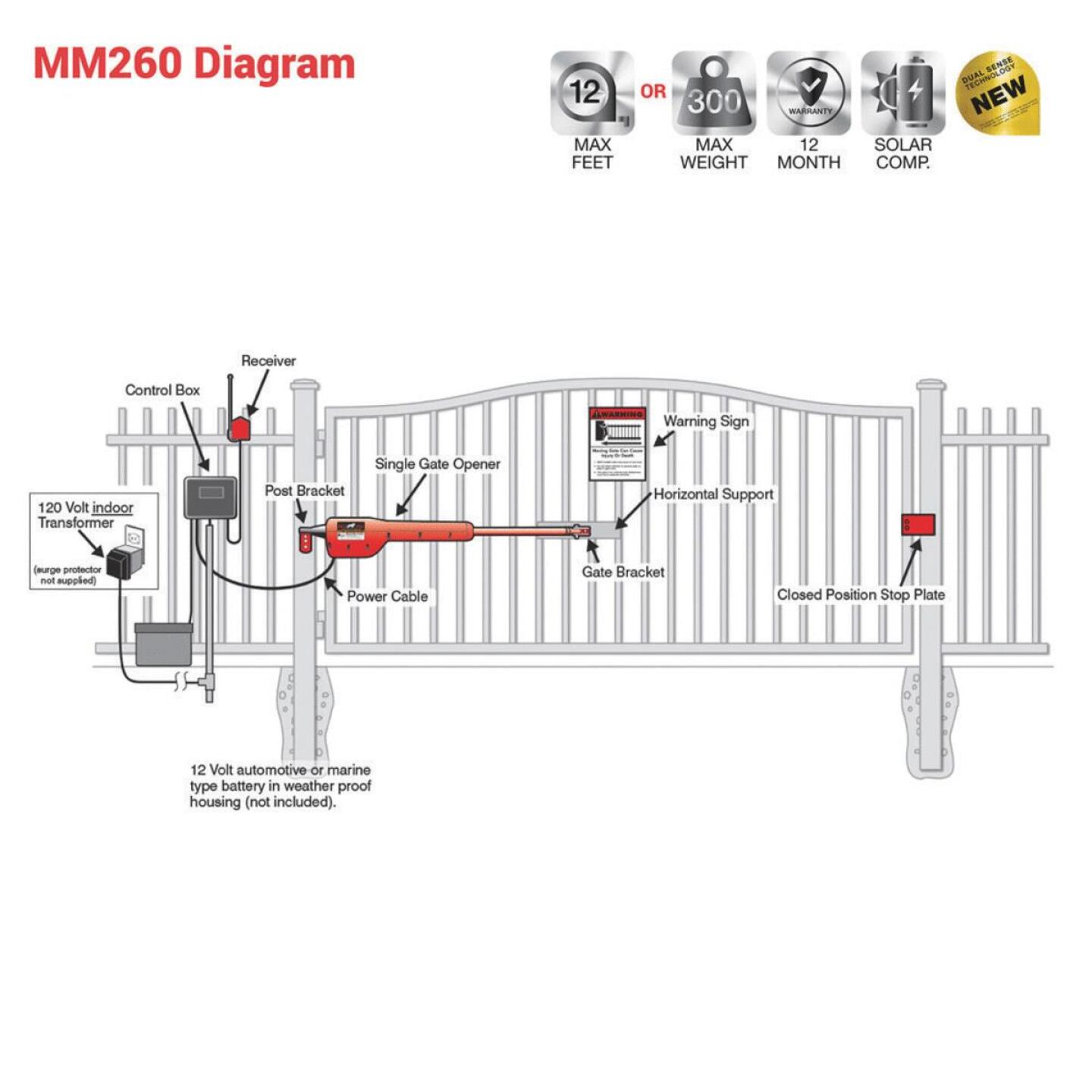 Mighty Mule MM271 12 Ft. 300 Lb. Single Gate Opener Kit Image 2