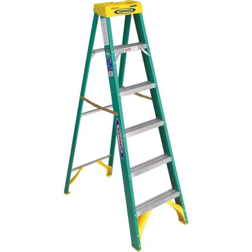 Werner 6 Ft. Fiberglass Step Ladder with 225 Lb. Load Capacity Type II Ladder Rating